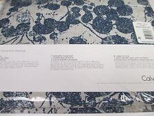 New CALVIN KLEIN BONDI-ECRU Blue 100% Cotton 3pc Floral  Duvet Set - Queen