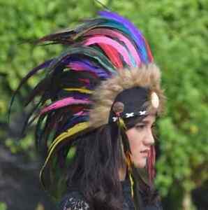 Headdress Costume Warbonnet Mohawk Natural Hat Chief Feather Headband Handmade