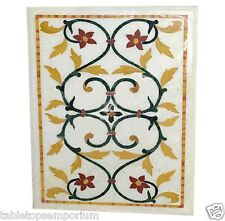 3'X2' Marble Center Dining Table Top Marquetry Mosaic Inlay Work Marquetry Arts