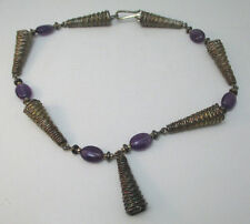 VINTAGE MEXICO STERLING SILVER NECKLACE SPRINGS W/ PURPLE GLASS BEAD ACCENTS **