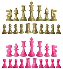 Staunton Triple Weighted Chess Pieces – Set 34 Khaki Gold & Pink - 4 Queens