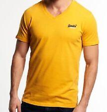 Superdry Orange Label Vintage Embroidered V Neck Cotton T Shirt Gold S