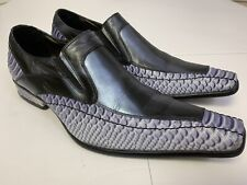 Impulse Mens Dress Shoes Leather Snake Skin Look Purple Black Slip On 9M