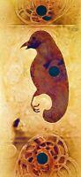 PÁJARO ANCIÓNICO. HUILE, ÉMAIL, SUR PAPIER. SIGNÉ (FL) BALDASANO. ESPAGNE. 1999