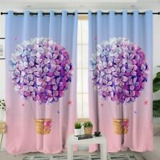 Pink Floral Flower Balloon Lilac Ball Window Living Room Bedroom Curtains Drape
