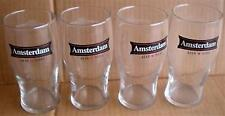 BEER DRINKING GLASS TALL AMSTERDAM BREWING COMPANY NATURAL BLONDE LOT OF 4 SET