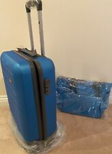 Horizon Blue ABS Plastic 4 Wheel Trolley Suitcase w// Matching Tote Bag
