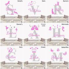 Personalised Custom Name Girls Wall Sticker Baby Nursery Bedroom Initial Decal