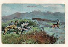 Scottish Deerhound Dog Deer Stalking Hunting George Rankin Art 1906 Postcard