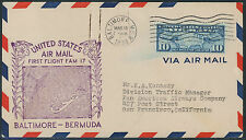 1938 Baltimore Maryland to Bermuda FAM 17 First Flight Air Mail Postal Cover