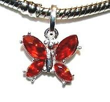 RED BUTTERFLY CHARM S/P SUIT EORO AND LINKS BRACELET