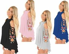 Floral Chiffon Bell Sleeve Cut Out Cold Shoulder Summer Party Top Plus SZ 10-18