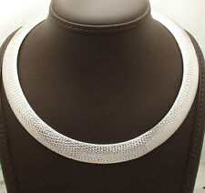 "18"" 14mm Diamond Cut Domed Omega Chain Necklace Real Sterling Silver 925 ITALY"