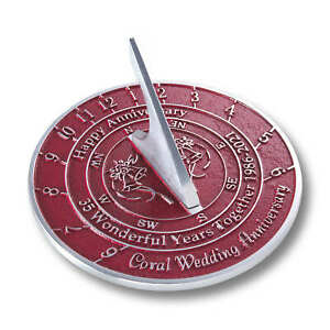 35th Coral 2021 Wedding Anniversary Sundial Gift By The Metal Foundry