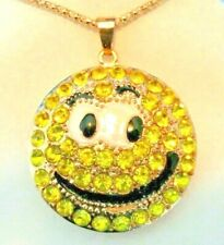 Betsey Johnson Women's Fashion Jewelry YELLOW SMILEY FACE Pendant Necklace COOL