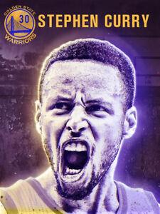 Stephen Curry Poster Golden State Warriors Basketball Art Print (18x24)