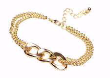ELEGANT GOLD TONED BRACELET THREE INTERTWINING OVAL LOOPS DESIGN GIFT(ZX55)