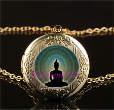 Buddha mandala Photo Cabochon Glass Gold Plating Locket Pendant Necklace