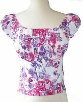 Pink Purple Floral Peasant Top retro vintage style Off shoulder Smocked shirt
