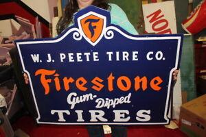 "Large Firestone Gum Dipped Tires Gas Station 2 Sided 36"" Porcelain Metal Sign"