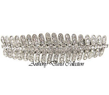 Crystal Bridal Silver Feather Hair Clip Accessory