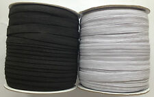 1/2 inch / 12mm Wide Flat 16 Cord Elastic Black or White Quality Sewing Trimming
