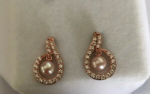 Diamonique QVC DQCZ Rose Gold On Sterling Silver Earrings