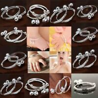 2Pcs/set Baby Kids 925 Silver Sterling Bracelet Bangle Gifts Adjustable Jewelry