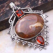 "Jewelry 2.8"" Ap 71621 JasperGarnet Ethnic Gift Handmade Pendant"