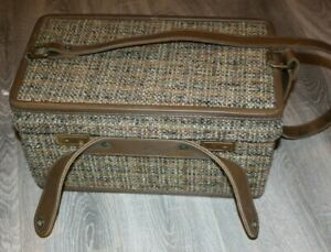 Vintage Hartmann Luggage  Brown Tweed Overnight Train Case Carry On