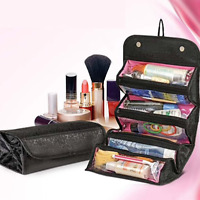 Purse Makeup Bag Cosmetic Handbag Hanging Toiletry Black Compact Storage Folding