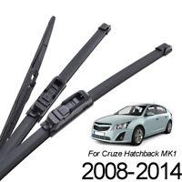 Set of3 Front Rear Windscreen Wiper Blades Kit For Chevrolet Cruze MK1 2008-2014