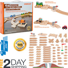 68 PCS Wooden Train Track Lot Set Wood Bridge Railroad Thomas Brio Accessories