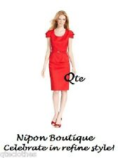 NIPON BOUTIQUE NEW Red Rouge Cap-Sleeves Belted Textured Top Pencil Skirt 12 QCO