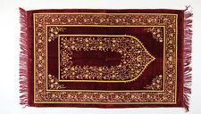 Seccade GEBETSTEPPICH 110cmx68cm Lüks Kadife Dunkelrot-Gelb-Gold  435 gramm