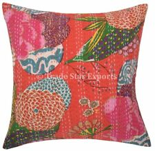 2 Pcs Indian Tropical Kantha Cushion Cover 16x16 Vintage Cotton Throw Pillowcase