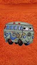 CHILDREN'S ORANGE WASH FLANNEL/MITTEN ~ CAR'S FILLMORE MOTIF ~ GREAT XMAS GIFT