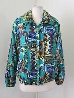 Vtg 90s Teal Blue Tribal Color Block Windbreaker Track Jacket Size M Retro Rave