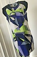 Women's Dress Retro 80's/90's Abstract Print Dotti Straight Zip Pockets VGUC