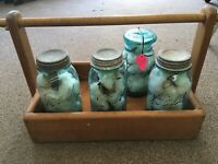 4-ANTIQUE/VINTAGE Mason's Patent Nov 30th 1858 Mason Jar filled with Real Cotton
