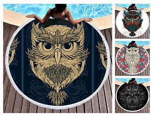 Novelty Cool Ethnic Owl Pirnt Fringed Large Beach Towel Cover-up Blanket Shawl