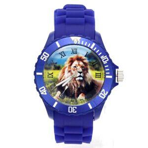 Men Women Accessories Silicone Strap Watch Fashion Lions Animal Pattern Jewelry