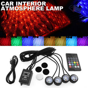 RGB LED Atmosphere Lamp Remote Sound Control USB Car Interior Ambient Star Light