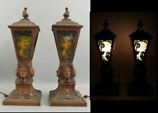 Antique American Western Indian Head Bronzed Spelter Metal, Table Lamps