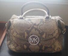 Michael Kors Beige/Green Python Snakeskin Leather Hamilton Satchel Purse Handbag