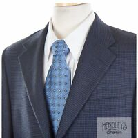 HICKEY FREEMAN Sport Coat 42 R Navy Blue Black Houndstooth Silk-Wool Jacket USA