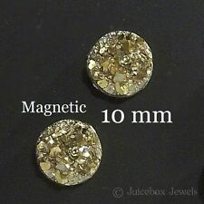 MAGNETIC Gold Faux Druzy, Fools Gold, Non Pierced 10mm Stud Trendy Earrings M181