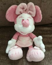 """Disney Minnie Mouse Pink Soft Toy Plush Beanie 10"""" Baby Pink"""