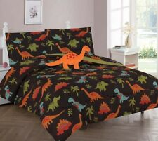 BROWN DINO LOVERS COMFORTER BED SHEET SET WINDOW PANEL VALANCE FOR KIDS TEENS