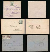 HONG KONG to SHAMEEN CANTON KE7 1906-07 + FANCY ENVELOPES...PRAVIEUX...3 ITEMS